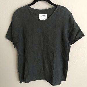 Flax Black Linen Short Sleeve Shirt